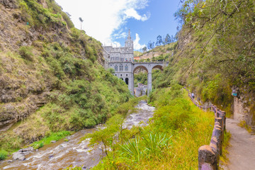 Sanctuary of Las Lajas view from the river Ipiales Colombia