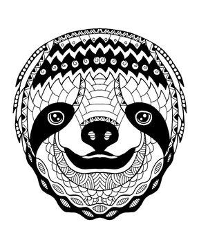 Sloth zentangle stylized. Freehand vector illustration