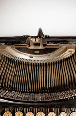 typewriter with blank sheet of paper, view from top