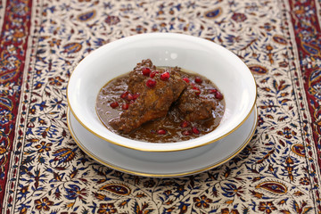 khoresht fesenjan ba morgh, chicken stew with pomegranate & walnut, iranian persian cuisine