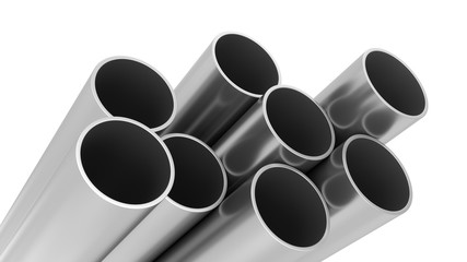 3D Rendering Metal Pipes isolated on white