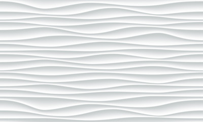 White wave pattern background with seamless horizontal wave wall texture. Vector trendy ripple wallpaper interior decoration. Seamless 3d geometry design Fototapete