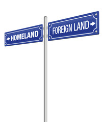 HOMELAND and FOREIGN LAND, written on two signposts. Symbol for emigration, flight, expulsion, banishment, exile, exodus and homesickness - isolated vector illustration on white background.