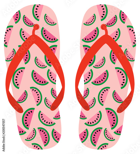 cc077234e479 Pink and red vector flip flops with watermelon pattern for beach holiday  designs