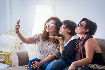 three woman at home doing selfies