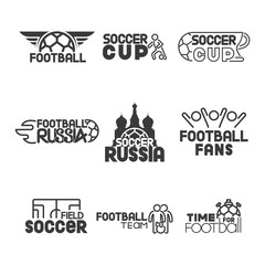 Set black icon soccer lettering. Pack label football stuff