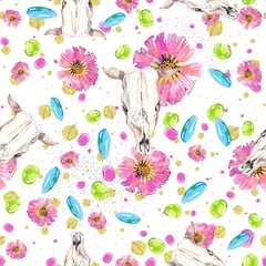 Watercolor natural seamless pattern, flowers and petals and cow skull