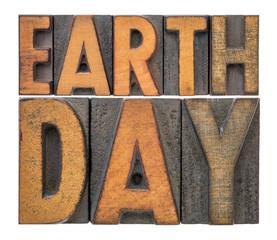 Earth Day banner in letterpress wood type