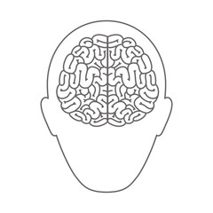 head profile human with brain