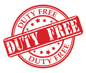 Red rubber stamp with Duty free concept