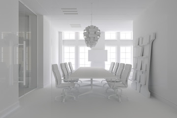 3d render of concerence room with table and chairs