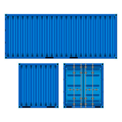 realistic image of the blue container on three sides, isolated on white background