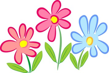 Three stylized flowers with pink and blue petals and green leaves