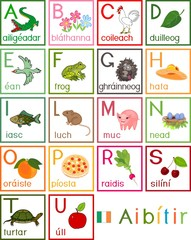 Colorful Irish alphabet with pictures and titles for children education