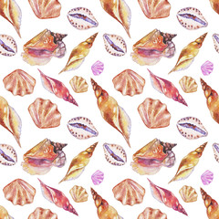Shells on the bottom of the sea. pattern, watercolor