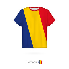 T-shirt design with flag of Romania.