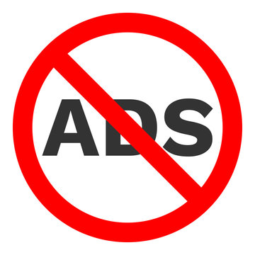 NO ADS sign. Red crossed round button. Vector icon.