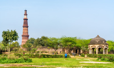Qutb Minar and Chhatri at the Quli Khan Tomb. Delhi, the capital of India