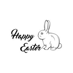 Greeting card with with white Easter rabbit. Funny bunny.  illustration.