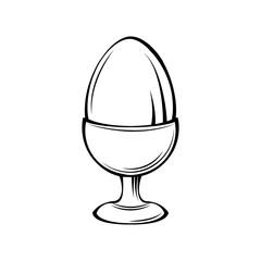Egg in egg holder, egg-cup, egg stand.  illustration.
