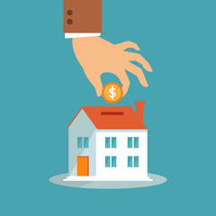 Illustration vector of people saving long-term home investment with coins in a flat and simple style