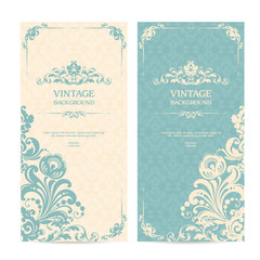 Vintage template set with ornamental frames and patterned background. Elegant lace wedding invitation design, Greeting Card, banners