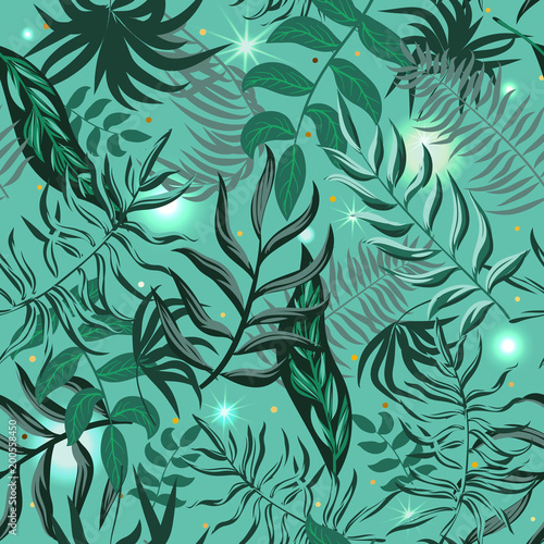 Seamless Pattern With Tropical Palm Leaves Jungle Leaves Pattern Delectable Tropical Leaves Pattern