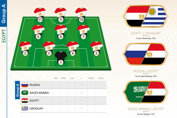 Egypt football team infographic for football tournament.