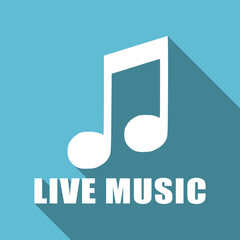 Live music text and note symbol flat design vector blue icon