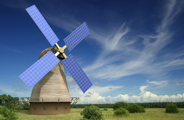 Old 3D windmill with solar panels on its wings with cloudy blue sky in the background representing ecological power source