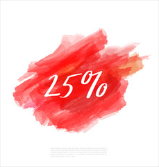 Sale 25% off artistic banner template design on red sketch background. Special offer, colourful letters for discount