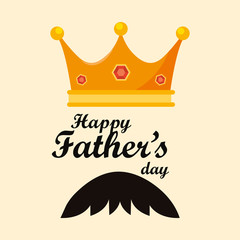 Happy fathers day design with king crown and mustache icon over yellow background, vector illustration