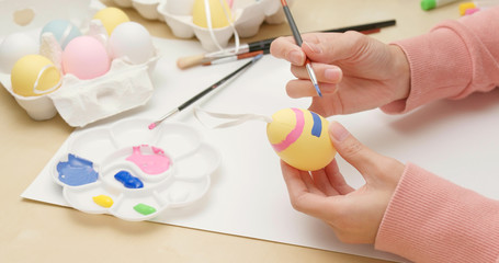 Drawing on egg for Easter holiday
