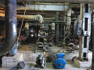 Electric motor water pump under repair at power plant