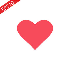 Red heart icon in flat style. Isolated red heart icon on white background for use in variety of projects. Minimal vector red heart icon for web sites and apps.