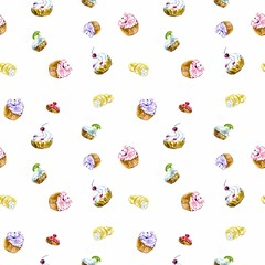Seamless pattern with hand painted watercolor sweet cupcake on blue backgruond