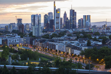 City Frankfurt am Main - business capital of Germany at the twilight light