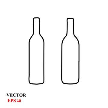 wine bottle icon. vector illustration