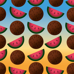 coconuts and watermelons pattern degraded background vector illustration
