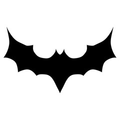 Simple, abstract, black bat silhouette icon. Isolated on white