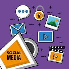 social media marketing video player secuirity photo vector illustration