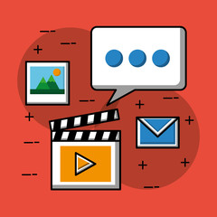 social media speech bubble film video email and picture vector illustration