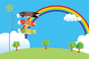 虹と青空と3匹の鯉のぼりのイラスト(風景)|端午の節句のイメージ|ベクターデータ|Illustration of a carp streamer