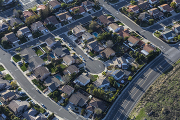 Aerial view of suburban culdesac street homes near Los Angeles, California.