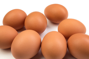 Eggs isolated on white background. Copy space for text. Top view