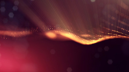 science fiction background of glowing particles with depth of field and bokeh. Particles form line and abstract surface grid. 3d rendering V8 red gold