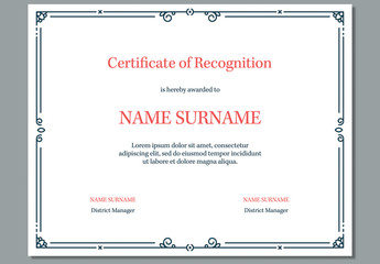 Certificate of Recognition Award Layout