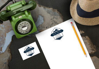 Business Card and Letterhead Mockup with Hat and Vintage Telephone