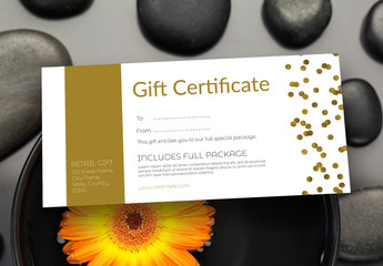 Gift Certificate Layout with Gold Accents