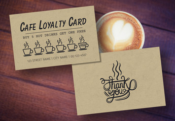 Café Loyalty Card Layout with Natural Paper Fiber Background